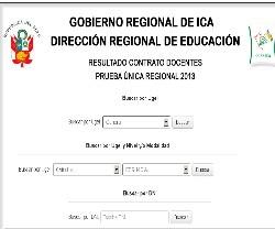 Resultados Contrato Docente DRE ICA 2013
