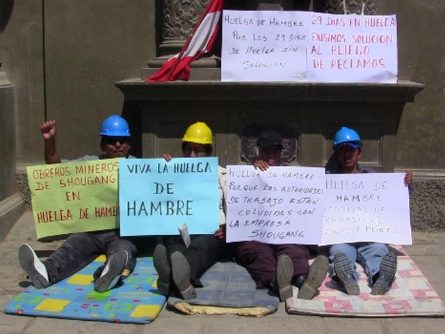 Obreros Shougang Hierro Perú levantan huelga de hambre