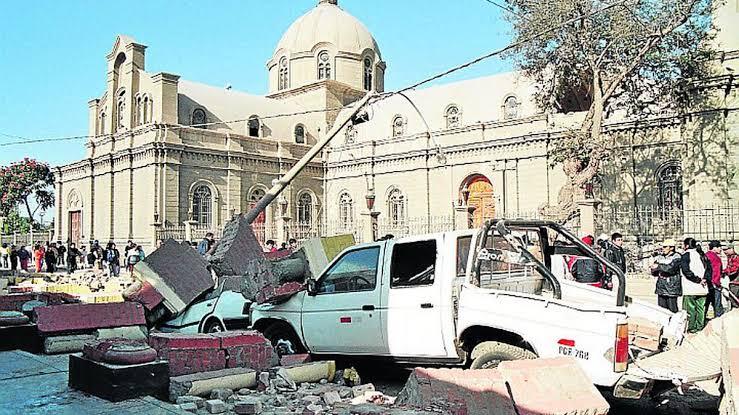 Exteriores de la Iglesia del Señor de Luren - Terremoto de Pisco 15 de Agosto 2007
