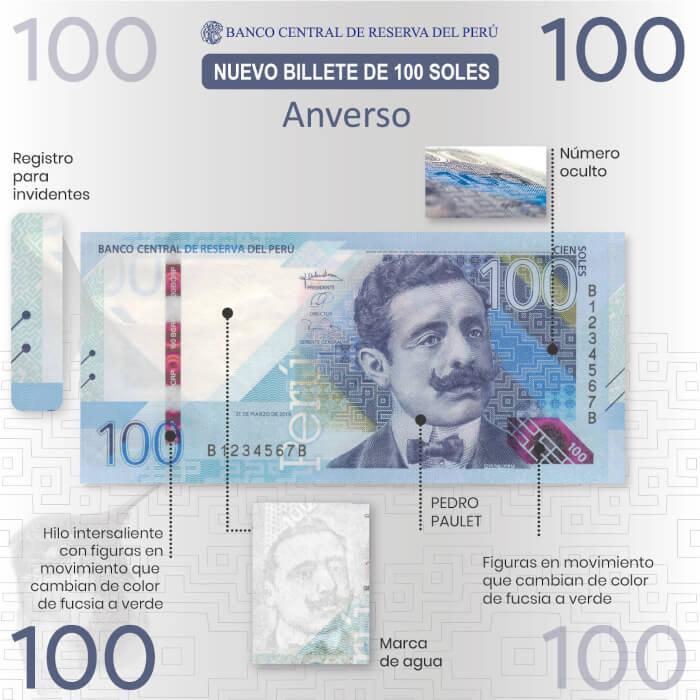 Características - Billetes de 100 soles: Pedro Paulet